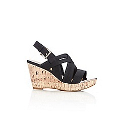 Wallis - Black strap wedge sandal