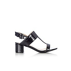 Wallis - Black textured patent sandal