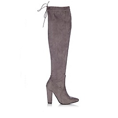 Wallis - Grey over the knee suede point boot