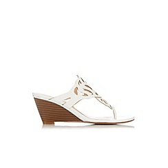 Wallis - White cutout wedge mule