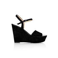 Wallis - Black suede platform wedge sandal