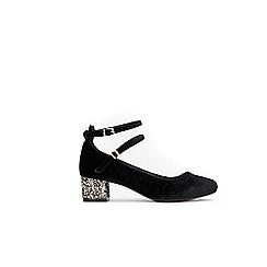 Wallis - Black copper glitter heel shoes