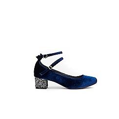 Wallis - Navy copper glitter heels