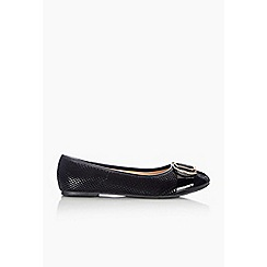 Wallis - Black gold trim ballerina shoe