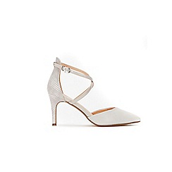 Wallis - Grey cross strap pointed court shoes