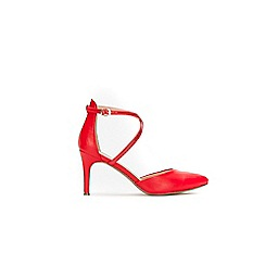Wallis - Red cross strap pointed courts