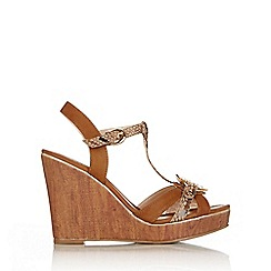 Wallis - Tan platform wedge sandal