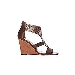 Wallis - Brown wedge sandal
