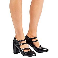 Wallis - Black faux leather block heeled court shoe