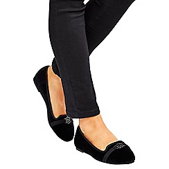 Wallis - Black velvet ballerina shoes