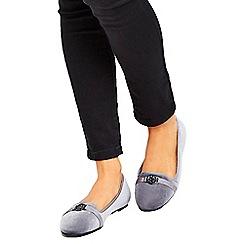 Wallis - Grey velvet ballerina shoes