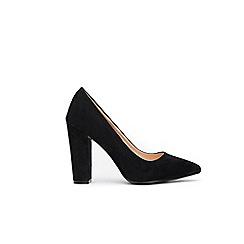 Wallis - Black pointed block heel court shoes