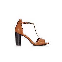 Wallis - Tan t-bar block heel sandal