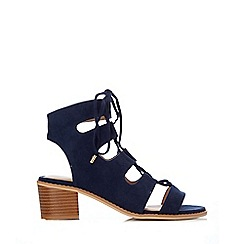 Wallis - Navy lace up sandal heel