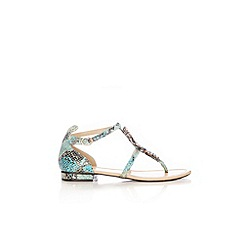 Wallis - Aqua snake embellished sandal