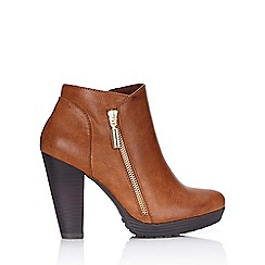 Wallis - Brown side zip ankle boot