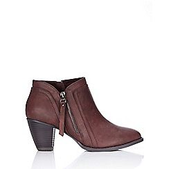 Wallis - Brown side zip casual ankle boot
