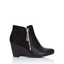 Wallis - Black high wedge zip ankle boot