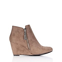 Wallis - Taupe high wedge zip ankle boot