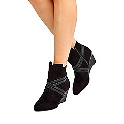 Wallis - Black mix material ankle boots