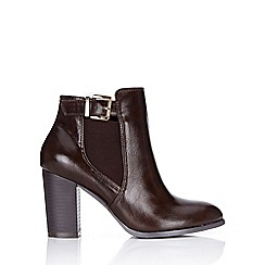 Wallis - Brown block heel buckle ankle boot
