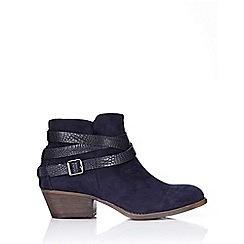 Wallis - Navy low heel ankle boot