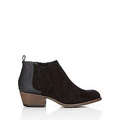 Wallis - Black snake low heel ankle boot