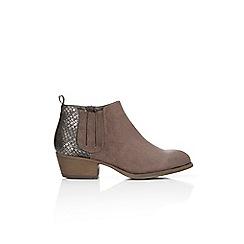Wallis - Grey snake low heel ankle boot