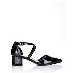 Wallis - Black patent block heel court shoe