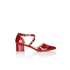 Wallis - Red patent block heel court shoe