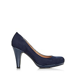 Wallis - Navy faux suede platform court shoe