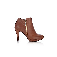 Wallis - Tan side zip platform ankle boot