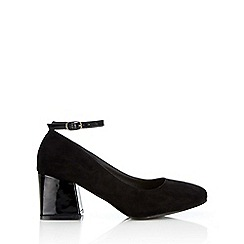 Wallis - Black ankle srap court shoe