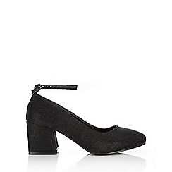 Wallis - Black shimmer ankle strap court shoe