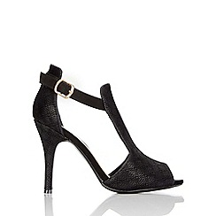 Wallis - Black heeled t-bar sandal