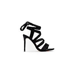 Wallis - Black wrap around tie sandals