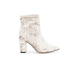 Wallis - Oyster velvet side zip ankle boots