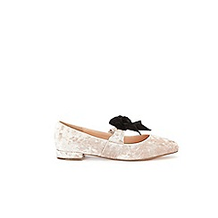 Wallis - Oyster velvet pointed bow flat shoes