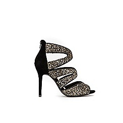Wallis - Black glitter caged sandals