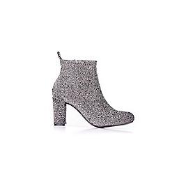 Wallis - Silver sock high heel boots