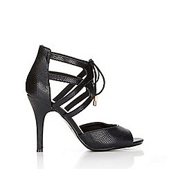 Wallis - Black heeled ankle lace up sandal