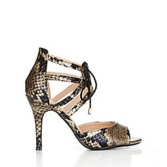 Wallis - Snakeskin heeled ankle lace up sandal