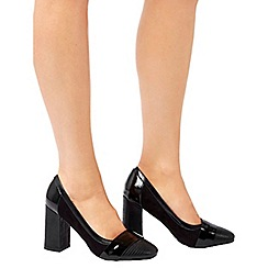 Wallis - Black high block heeled court shoe