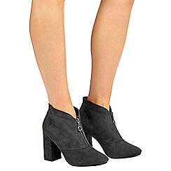 Wallis - Grey zip up block heel ankle  boot