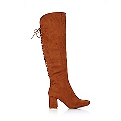 Wallis - Camel lace up knee high boot