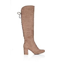 Wallis - Taupe lace up knee high boot