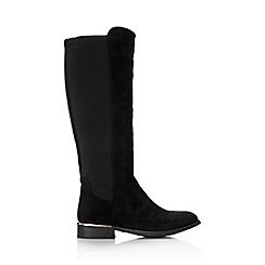 Wallis - Black stretch suedette knee high boot