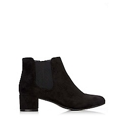 Wallis - Black square toe patent ankle boot