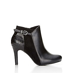 Wallis - Black suedette and faux leather ankle boot