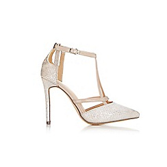 Wallis - Gold t-bar court shoe